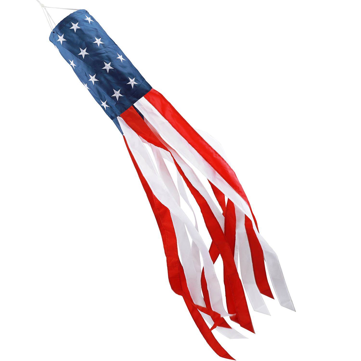HOOSUN 60 Inch American US Flag Windsock, Outdoor Embroidered Stars & Stripes USA Patriotic Decorations-UV ray- Water Resistant-Fade-Resistant- Tear Resistant